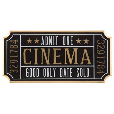 Cinema Ticket Wall Sign Theater Media Plaque Room Movie Night Wall Decor