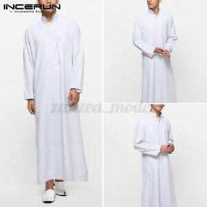 Retro-Mens-Muslim-Saudi-Arab-Long-Sleeve-Thobe-Islamic-Jubba-Thobe-Kaftan-Shirts