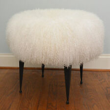Real Natural White Mongolian Lamb Fur Stool Tibet Lamb Bench  iron legs Ottoman