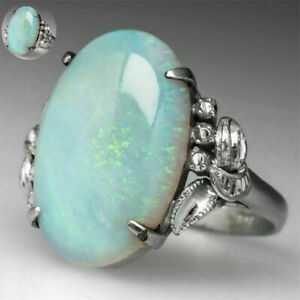 Natural-Moonstone-925-Plated-Silver-Ring-Gemstone-Wedding-Sz-5-10-Women-Jewelry