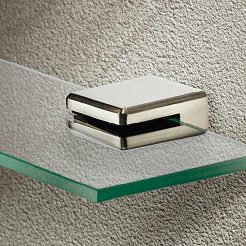 Paire de carré étagère en verre Support Pince Chrome ou en acier inoxydable 8 mm