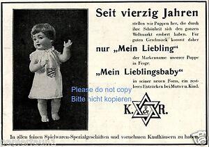 K-amp-R-Puppe-Liebling-Reklame-von-1928-Davidstern-Doll-Judaika-Werbung-ad
