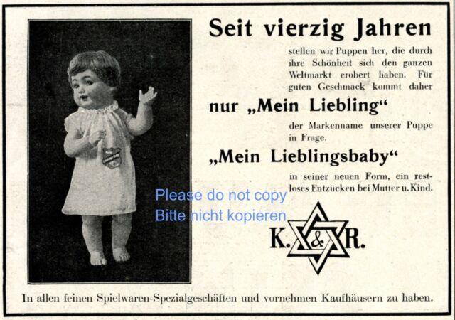 K & R Puppe Liebling Reklame von 1928 Davidstern Doll Judaika Werbung ad