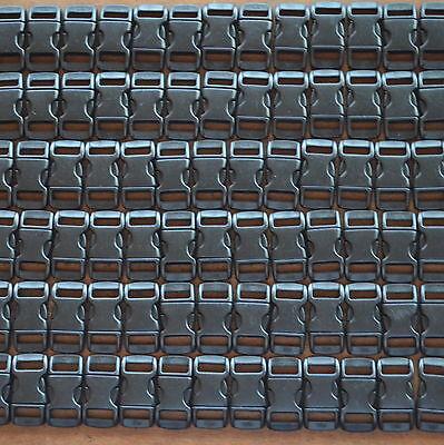 100 3/8 Buckles Black For Paracord Bracelets Plastic Clasp Side Release