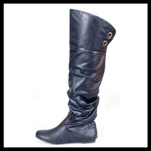 WOMAN-SHOES-BLACK-FLAT-HEEL-OVER-KNEE-HIGH-BOOTS-PULL-ON-SLOUGH