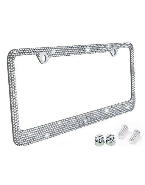 Metal License Plate Frame Bling Rhinestones Chrome Swarovski Crystal ...
