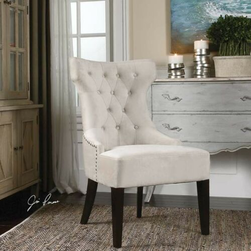 Antique White Velvet Armless Tufted Wing Chair Transitional Accent 759526411783