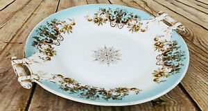 """Vtg China Serving Plate /w Handles Floral blue gold dinnerware beautiful 10.5"""""""