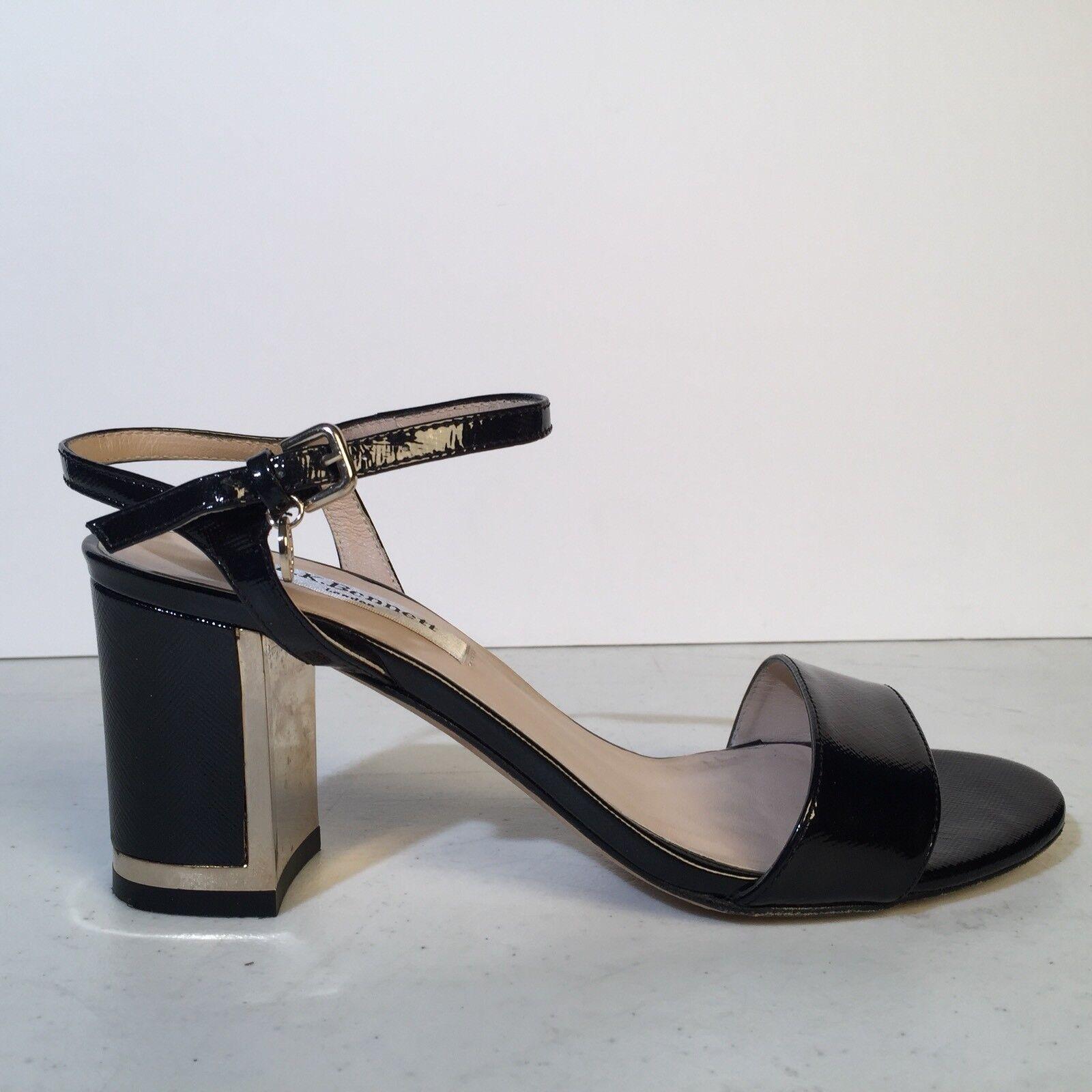 L.K. BENNETT london Black Leather MORGAN Sandals 36 $325 Saffiano Block Heel