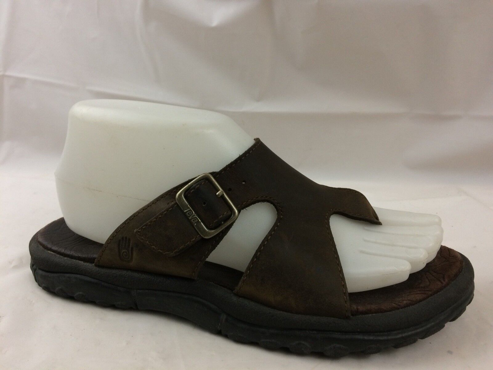 Teva Womens 7 Med Flip Flop Sandals shoes Buckle Brown Leather Wedge Casual Shoc