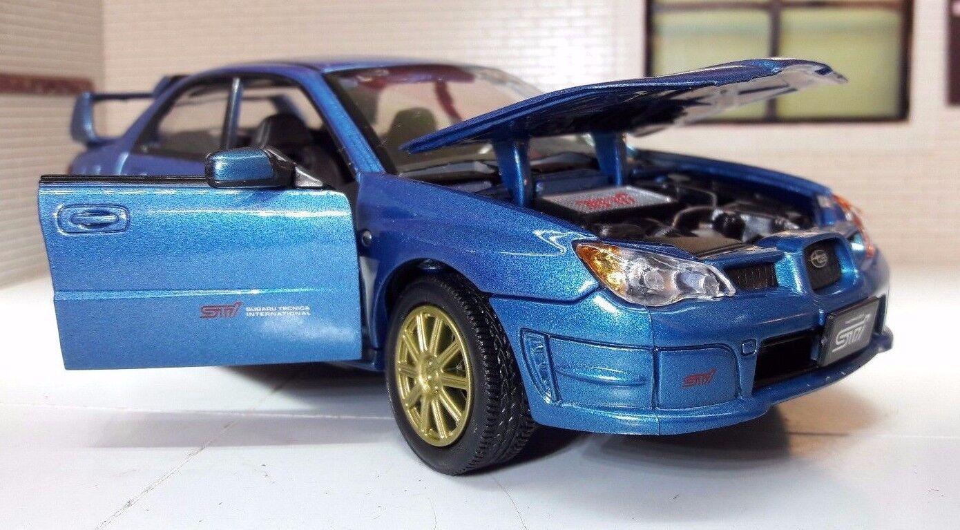 1 24 Echelle blå Moulage sous Pression Motormax Subaru Impreza Wrx Sti