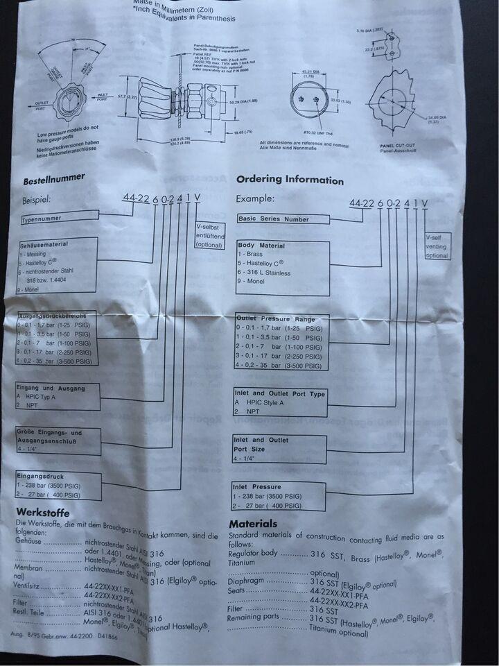Trykstyring, Drager Tescom 44-2213-242 Regulator