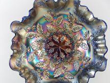 Fenton Cobalt Blue Carnival Glass 3 in 1 Ruffled Edge Bowl