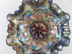 Fenton-Cobalt-Blue-Carnival-Glass-3-in-1-Ruffled-Edge-Bowl
