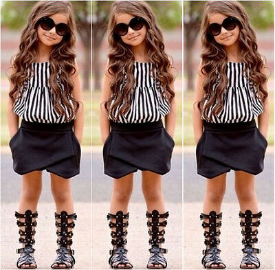 NEW Toddler Kids Girls Clothing Striped Tops Shirt Black Shorts Outfits Set 2-7T