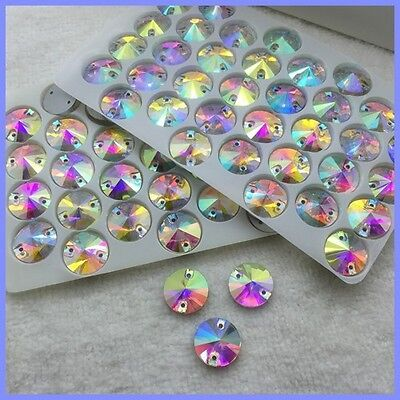 Round Shape Sew On Glass AB Clear 2 Holes Crystal Rhinestone Silver Flatback