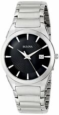 Bulova Men's 96B149 Classic Quartz Black Dial Silver-Tone Bracelet 38mm Watch