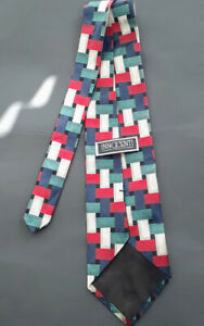 Innocenti-Gold-Blue-Red-Green-Rectangles-Silk-Necktie-Hand-Tailored-By-Tom-James