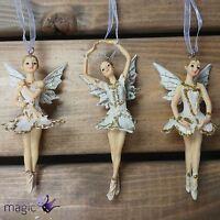 Gisela Graham Cream Gold Ballerina Fairy Hanging Xmas Christmas Tree Decoration