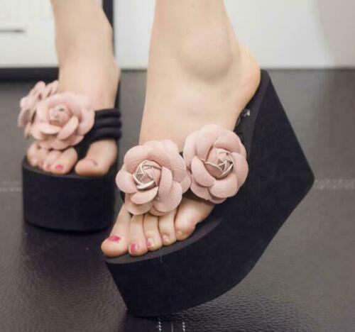 Para Mujeres Tanga Rose Flowers Ojotas Sandalias De Playa De Plataforma De Cuña Alta Zapatilla