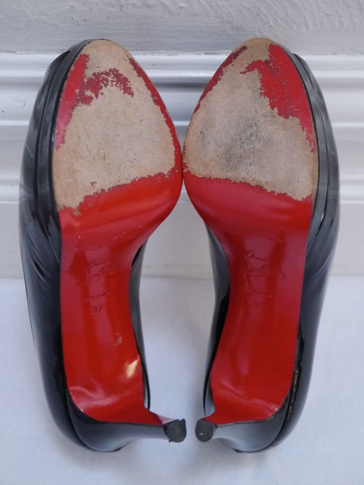 CHRISTIAN LOUBOUTIN black patent platform pumps heels Prive Lady Lady Lady Peep size 37 1a2d33