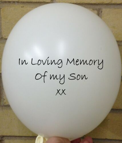 Funeral White Rememberance Memorial Balloon 3 In Loving Memory of Son Wake