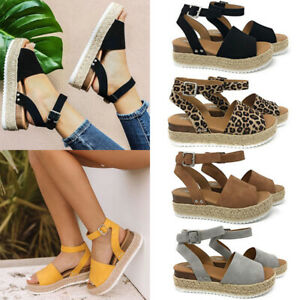 Summer Womens Platform Wedge Sandals Espadrille Ankle Strap Comfy Shoes Sizes