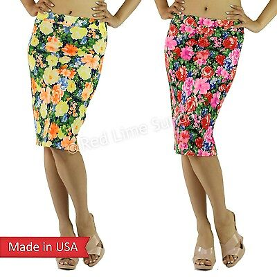 New Girly Chic Flower Floral Print Multi Color Popcorn Fabric Pencil Skirt USA