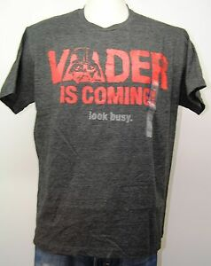 STAR-WARS-Vader-is-Coming-Look-Busy-Unisex-Retro-Darth-T-Shirt-Large-Lge-L-NEW