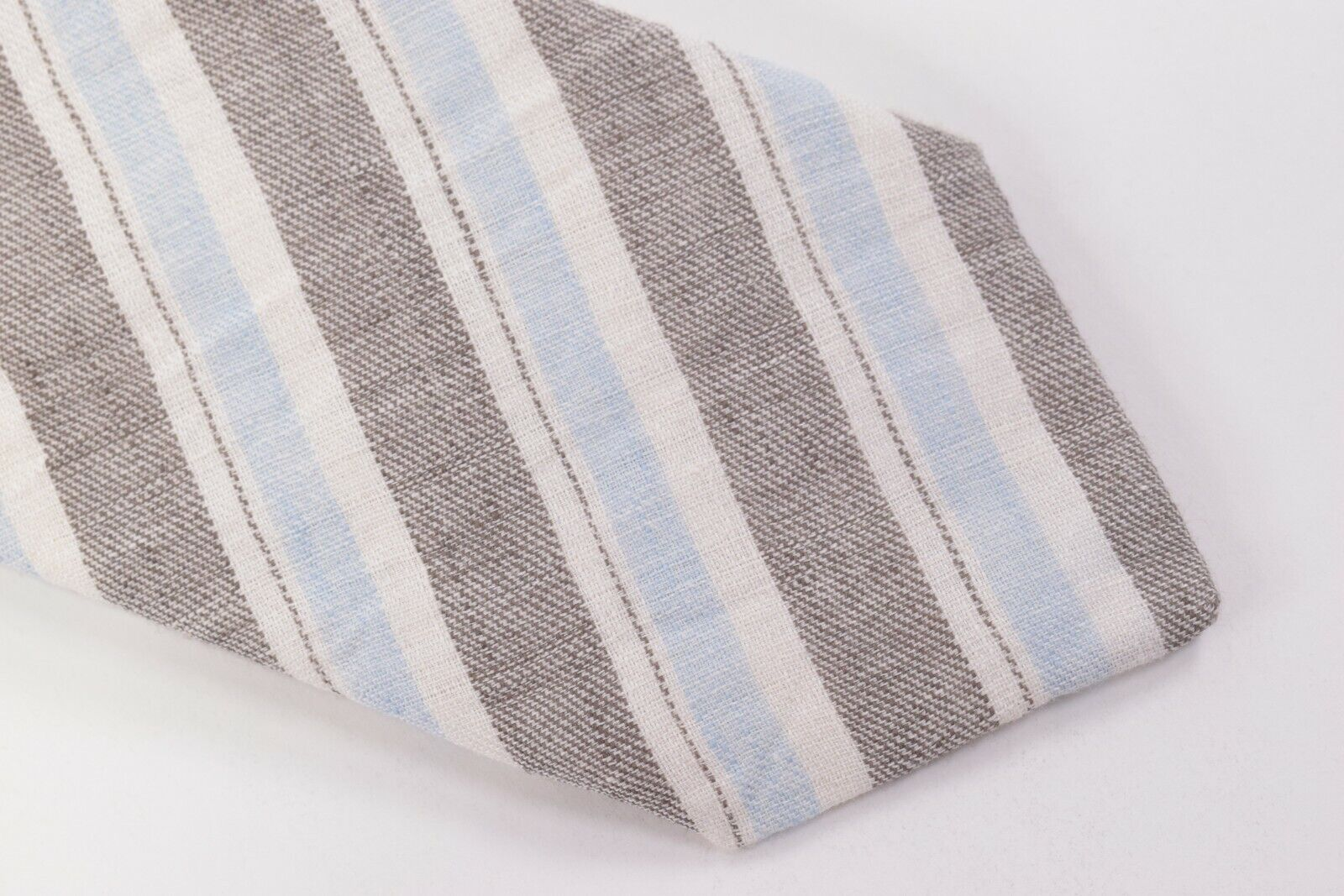 Belvest Neck Tie NWT White, Grey and Light Blue Striped 100% Linen