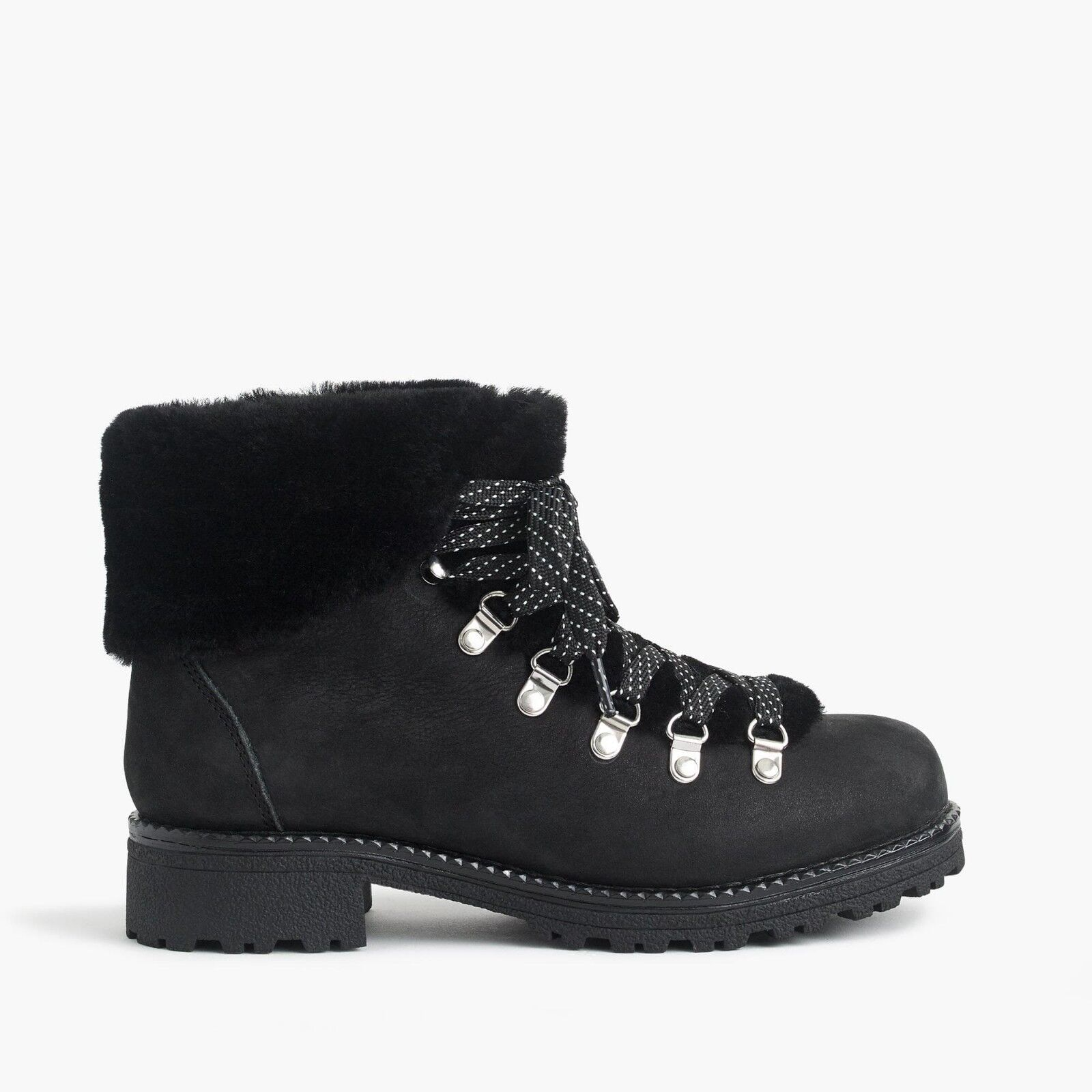 NIB J.CREW 178 Nordic Boots BLACK F8444 SZ 7M 10M *nubuck leather winter snow