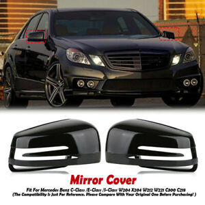 Gloss Black Left Right Side Mirror Cover Cap For Mercedes Benz W204 C207 W212