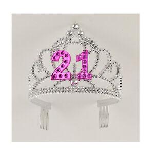 21st-Birthday-Party-Plastic-Silver-Pink-Tiara-FREE-U-S-FC-SHIP