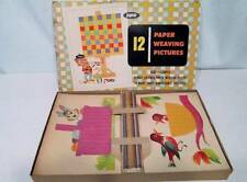 Vintage 50s JAYMAR Board Games 12 Cards Paper Weaving Pictures VERY RARE #940