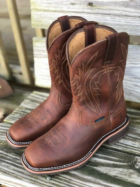 Ariat Men's Brown Hybrid Rancher H20 400G Boots Square Toe Work Boots 10025098