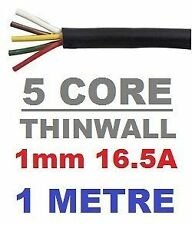 5 CORE AUTO CABLE 1.0mm 16.5 AMP CAR WIRE 1 METRE MULTICORE THINWALL 1MM  1M