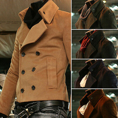Ernst New Fashion Mens Woolen Short Double Breasted Pea Coat Jacket Jumper Blazer B718 Diversifiziert In Der Verpackung