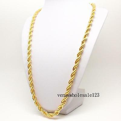 "24"" 9K Yellow Gold Filled Men's jewelry Rope Chain Link Necklace FN3166"