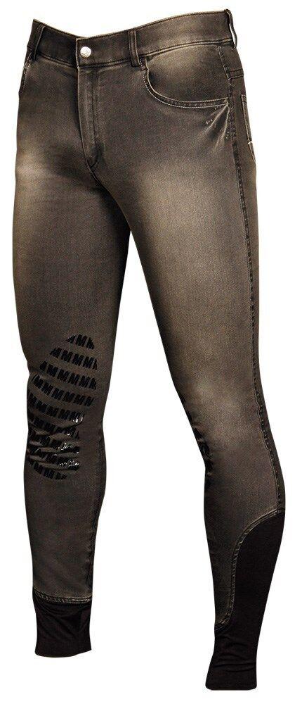 Reithose Jeans MD MD MD Harrys Horse Herren Silikon Knie grau Grip 8c4ac7
