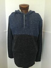 NEW NAUTICA MEN'S L/S BLUE PULLOVER HOODIE 3 BUTTON DRAWSTRING SHIRT TOP LARGE