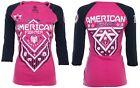 AMERICAN FIGHTER Womens T-Shirt NORTH DAKOTA Biker UFC Sinful $40 b NWT