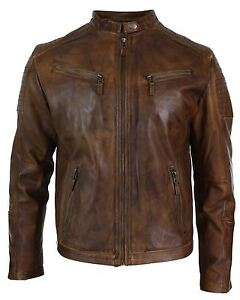 fit uomo vintage casual in lavata motociclista vera slim marrone da Giacca da retro pelle RqY7gqCw