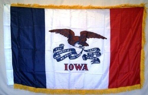 3x5 Iowa State Poly Nylon Sleeve w// Gold Fringe Flag 3/'x5/' Banner