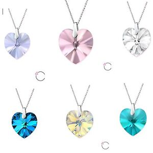 Swarovski-Elements-Necklace-Pendant-Crystal-Heart-Jewellery-Clear-AB-Silver-Gift