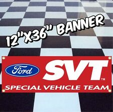 "FORD SVT LOGO BANNER Sign GT Focus Mustang Raptor 12""X36"" Red"