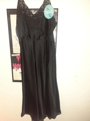 Black Silk Fischer Heavenly Lingerie Vintage Slip