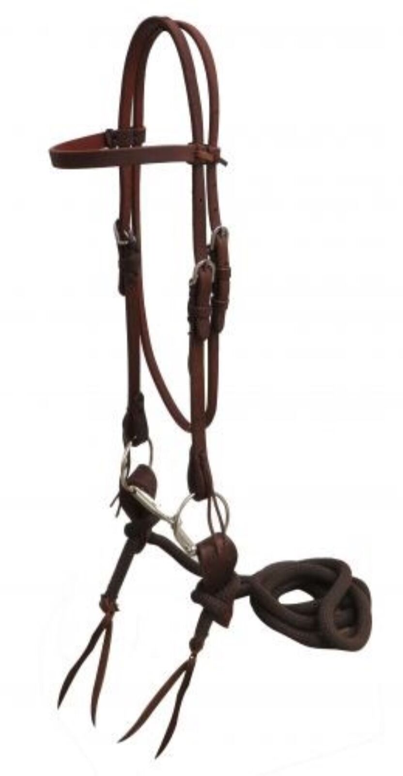 Showman Oiled Harness Leather Headstall W  O-ring Snaffle Slobber Strap Reins