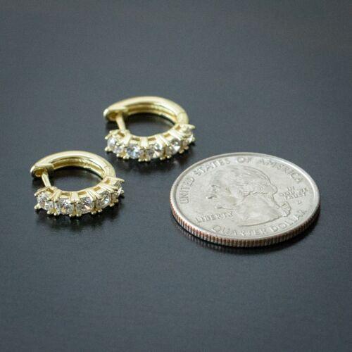 925 Sterling Silver 14K Gold Plated Solitaire Diamond Huggie Clip Hoop Earrings