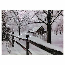 Christmas Tapestry House Snow Scene Fibre Optic Lights Wall Hanging Battery Opp