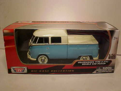 VW Van Type 2 Volkswagen T1 Bus Pickup Diecast 1:24 Motormax 8 inch Blue White